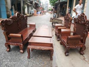 Bộ bàn ghế đồng kỵ kiểu hoàng gia gỗ mun đuôi công