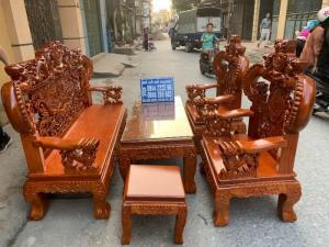 Bộ bàn ghế nghê đỉnh tay khuỳnh gỗ gõ đỏ
