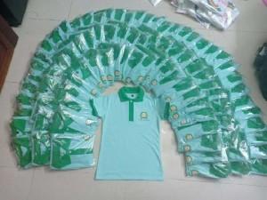 Áo thun đồng phục màu xanh thiên thanh gía rẽ