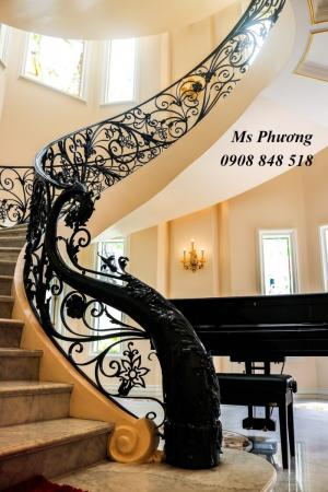 Đa dạng các mẫu cầu thang sắt uốn nghệ thuật cổ điển nhưng không kém phần sang trọng, nổi bật