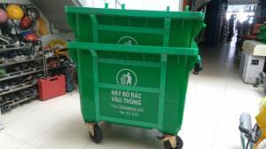 Bán xe thu gom rác 660 lit có 4 bánh xe đẩy - Ms Thanh 0913 819 238
