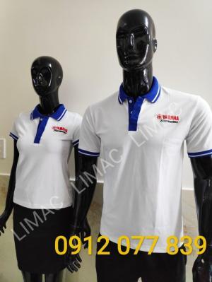 Áo thun yamaha cửa hàng màu trắng bo xanh