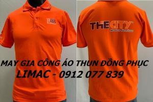 Áo nhân viên công ty màu cam, xưởng may in đồng phục uy tín