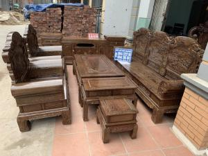 Bộ bàn ghế khổng tử gỗ mun đuôi công