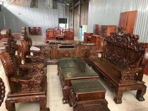 Bộ bàn ghế nghê đỉnh tay khuỳnh vách chữ C gỗ mun đuôi công
