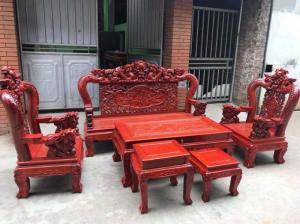 Bộ bàn ghế rồng mai gỗ hương đỏ nam phi
