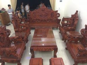 Bộ bàn ghế đồng kỵ nghê đỉnh gỗ hương đỏ