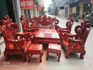 Bộ bàn ghế trạm nghê đỉnh tay khuỳnh vách bát tiên gỗ hương đỏ nam phi