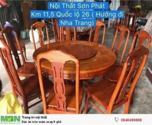 Bàn ăn tròn mâm xoay 8 ghế