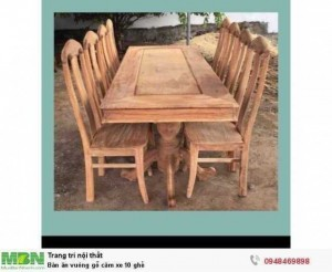 Bàn ăn vuông gỗ căm xe 10 ghế