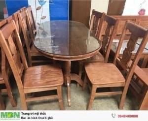 Bàn ăn hình Oval 6 ghế