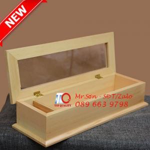 Hồ Chí Minh - Hộp gỗ đựng đũa muỗng, hộp đựng đũa bằng gỗ có nắp trong suốt giá tốt