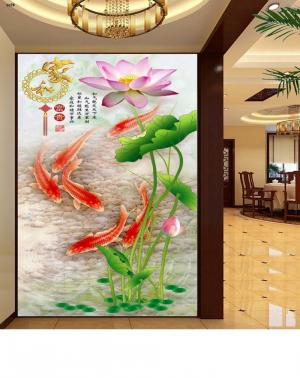 gạch tranh 3d hoa sen cá chép