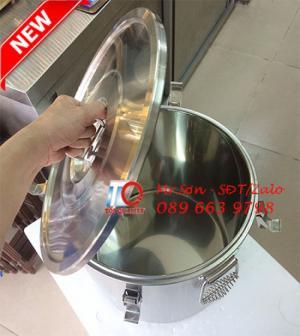 Thùng/Nồi inox 304 cách nhiệt 2 lớp nắp bằng có lỗ thông hơi chuyên vận chuyển nước lèo, nước phở nóng tại Quy Nhơn