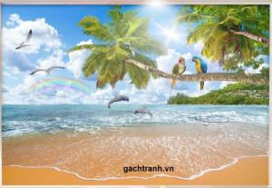 tranh gạch 3d phong cảnh biển L90