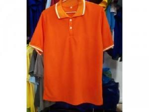 Áo thun cam cổ trụ cam sọc trắng