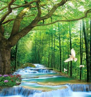 tranh gạch 3d hồ nước thiên nhiên phong cảnh