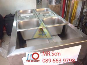 Thùng inox giữ lạnh 6 ngăn đựng thạch trà sữa - Khay inox 10 ngăn đựng thạch toping, bán chè, cháo dinh dưỡng, giữ lạnh hải sản tại Kiên Giang