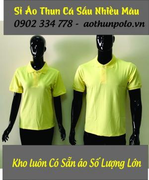 áo thun cổ bẻ vàng trơn giá sỉ 55k