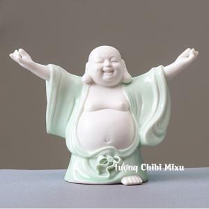 Tượng Phật Di Lặc trắng phối áo xanh - Phật đứng dang tay