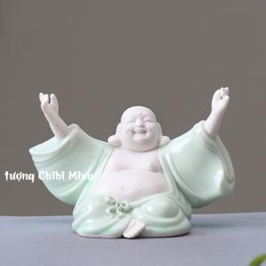 Tượng Phật Di Lặc trắng phối áo xanh - Phật ngồi dang tay