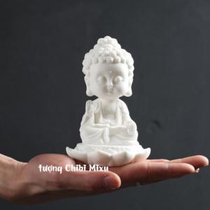 Tượng Phật trắng ngồi thiền trên đài sen - Phật Ông