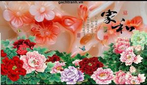 tranh gạch 3d hoa mẫu đơn phong thủy