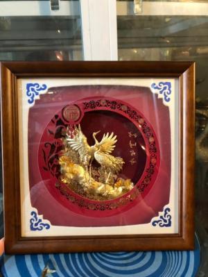 Tranh uyên Ương mạ vàng quà tặng ngày cưới