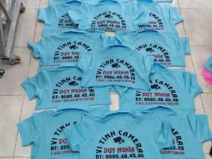 Áo thun đồng phục màu biển cho Cty camer