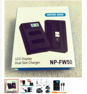 Bộ sạc đôi pin máy ảnh NP-FW50 có đèn LCD hiển thị