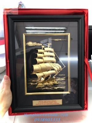 Quà tặng tết 2020 - Tranh thuyền buồm mạ vàng 24k