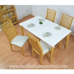 Bộ bàn mặt sơn pu 4 ghế ăn hw331 - homeworld