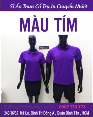 áo thun đồng phục màu tím - sỉ lẻ áo thun cổ trụ trơn màu tím