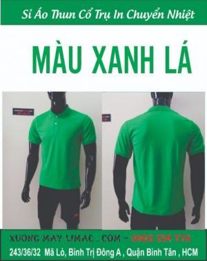 áo thun cổ trụ xanh két giá sỉ cho các xưởng in - xưởng may áo thun cá sấu in nhiệt