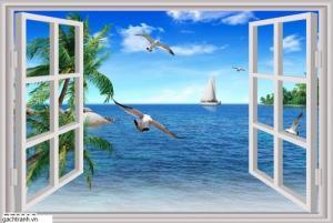 tranh gạch 3d hình cửa sổ