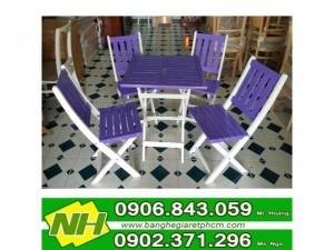 bàn ghế gỗ xếp sơn màu giá rẻ