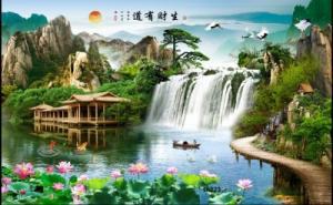Tranh gạch 3d - gạch tranh 3d thác nước