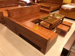 Bộ sofa góc triện gỗ sồi nga 5 món SFG008