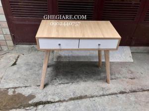 Bàn trang điểm 80x40 mdf chống trầy màu sồi hộc trắng - chân gỗ