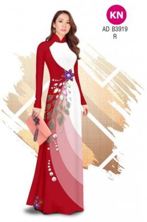 Vải áo dài in 3D hoa đính đá đẹp năm 2020 ADKN B3919