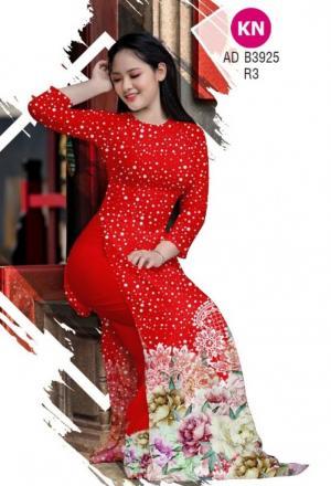 Vải áo dài chấm bi và hoa của vải áo dài Kim Ngọc ADKN B3925