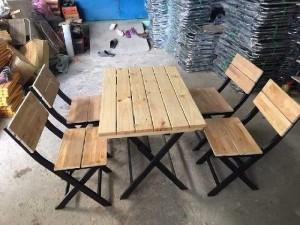Thanh lý gấp 20 bộ bàn ghế xếp gỗ