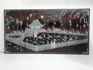 Tranh sơn mài xưa, khung cảnh chùa Một Cột, kích thước 0.6x1,2m