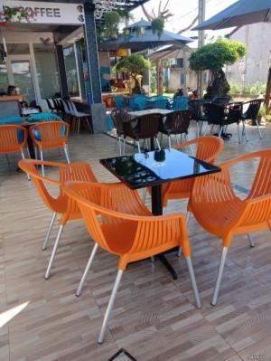 bộ bàn ghế cafe nhựa chân nhôm giá rẻ