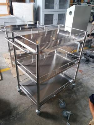 Xe đẩy inox 3 tầng Lâm Việt sản xuất