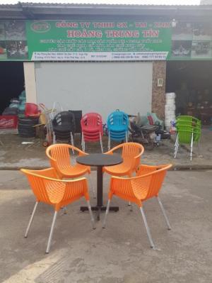 bàn ghế cafe nhựa đúc chân inox giá tốt VĐ21
