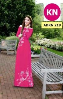 Vải áo dài đẹp in hình trái tim của vải áo dài Kim Ngọc ADKN 219