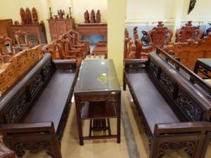 Bộ bàn ghế trường kỷ tứ quý Gỗ gụ -BBG272