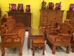 Bộ bàn ghế sơn thuỷ gỗ hương đá – BBG213H