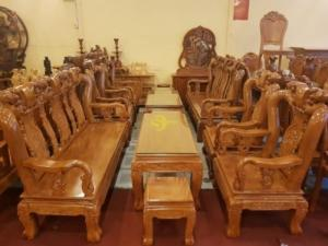 Bộ bàn ghế chạm đào gỗ gõ đỏ tay 10 – BBG05